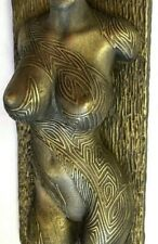 Sexy Erotic female nude torso tattoo covered brass wall sculpture home decor