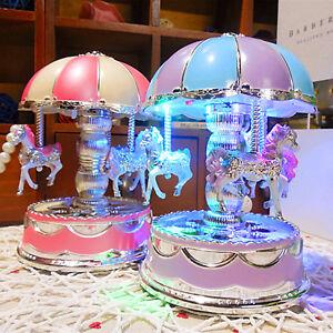 Horse Carousel Music Box LED Light Home Decor Children Kids Toy Birthday Gift