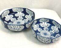 Vintage Blue/White Leaf OMC Otagiri Japan Porcelain Bowls Lot of 2