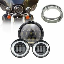 """7"""" LED Dual Beam Headlamp + 4.5 inch Auxiliary Fog Spot Light For Harley Touring"""