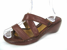 Born Shoes 9 M W 40 Womens Brown Leather Strappy Slip On Wedge Heels Sandals
