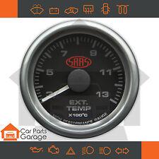 """SAAS 52mm 2"""" Exhaust Pyro Temp Gauge 300-1300 Range Black Dial Face+ Fitting Kit"""