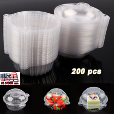 200x FOOD GRADE Cupcake Cake Case Muffin Fruit Dome Holder Box Container Pl