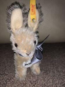 Steiff Williams Sonoma Rabbit - Mohair Easter Bunny # 681806 - Blue Bow