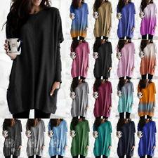 Damen Tunika Langarm Longshirt Freizeit Pulloverkleid Oberteile Baggy Bluse Hemd