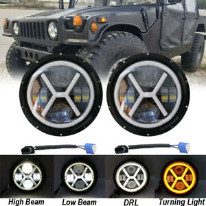 """Fit for Land Rover Defender 90 110 Pair LED Headlights 7"""" BLACK Hi/Lo DRL Lamps"""