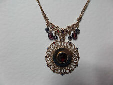 VICTORIAN STYLE ROSE GOLD PLATE FILIGREE PENDANT NECKLACE RED TONING STONES 16""