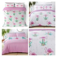 Flamingo Duvet Cover Reversible Tropical Print Covers Quilt Bedding Sets