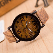 Women Watch Roman Digital Wood Leather Analog Quartz Vogue Wrist Watches #fr4