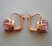 Russian Russia 14K 583 Rose Pink Gold Pink Tourmaline Dangle Earrings 14kt 6 g