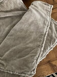 "Pottery Barn Velvet Pillow Covers With Fringe Tan Two-22""x22"""