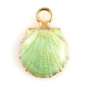 10X Gold Plated Scallop Shell Enamel Charm Pendant For DIY Necklace/Bracelet
