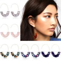 Women Geometric Dangle Resin Acrylic Hoop Earrings Hook Statement Jewelry Gift