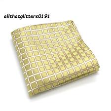 Gold Silk Pocket Square Handkerchief For Jacket Pocket Check Design