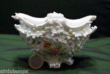 COUPE VASE PORCELAINE de SAXE finXIXè 1900 dentelle fleurs signé