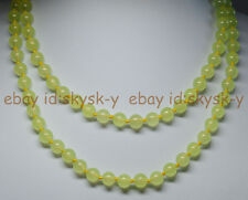 36 inches 8mm Prehnite Light Green Jade Gems Round Beads Necklaces AAA