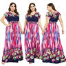 Boho Floral Women Long Dress Plus Size Loose Holiday Beach Party Summer Sundress