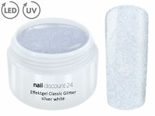 UV LED Effekt Gel GLITTER SILVER WHITE Farb Color Nagel GlitzerNail Weiss Silber