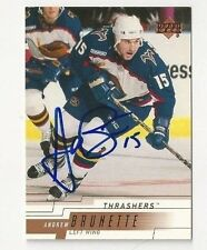00/01 Upper Deck Autographed Hockey Card Andrew Brunette Atlanta Thrashers