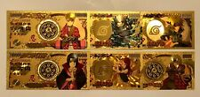 6x Naruto anime Gold Money Cards