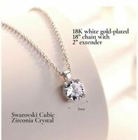 18K White Gold Plated 18'' Silver Chain 7 MM Swarovski Crystal Pendant Necklace