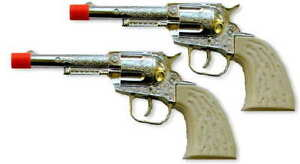SALE!  2 Wild West Die-Cast Metal Pistol Western Cowboy Toy Cap Guns