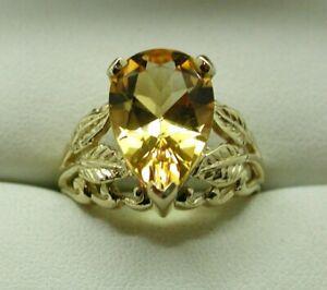 Gorgeous 9 carat Gold Large Pear Shaped Citrine Ladies Dress Ring Size N