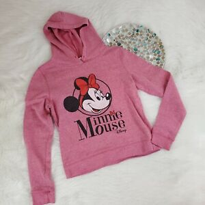 Disney Womens Minnie Mouse Pullover Hoodie Sweatshirt Size M 7/9 Pink o2395
