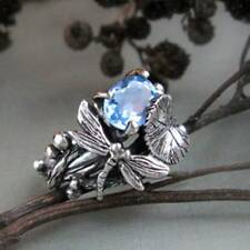 Women Fashion Jewelry Silver Rings Aquamarine Oval Cut Gem Dragonfly Lotus Rings