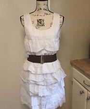 JULIE DILLON Tiered Cotton Sheath White Dress Belted Sleeveless Sz 6 New