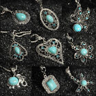 Fashion Vintage Turquoise Women Tibetan Silver Bib Crystal Pendant Long Necklace