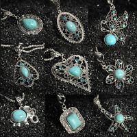 Turquoise Women Vintage Tibetan Silver Bib Crystal Pendant Long Necklace CHI