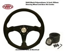 SAAS 14inch 350mm Black Steering Wheel & Boss Kit Suits Holden VL COMMODORE ADR