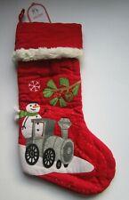 Pottery Barn Red Woodland Snowman on Train Christmas Stocking NEW NO monogram