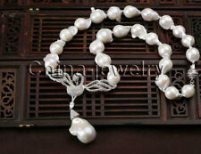 "P6661-19"" 24mm natural white Reborn Keshi baroque freshwater pearl necklace - GP"