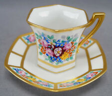 T & V Limoges Hand Painted Art Deco Dresden Floral & Gold Chocolate Cup & Saucer