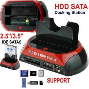 All in 1 IDE SATA HDD DOCKING STATION DUAL HARD DRIVE USB DOCK HUB + CARD READER