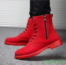 Fashion Mens Lace Up Ankle Boots High Top Military Zipper Sneakers Casual Shoes