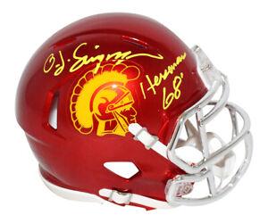 O.J. Simpson Autographed USC Trojans Chrome Mini Helmet Heisman JSA 30383