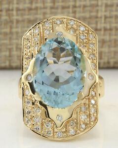 7.47 Carat Genuine Aquamarine 14K Solid Yellow Gold Luxury Diamond Ring