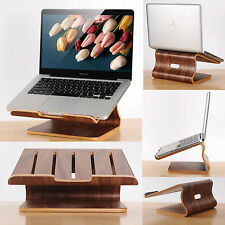 Walnut Wood Wooden Laptop Cooling Stand Holder Dock Tray for Macbook Air Pro