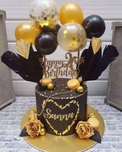 BALLOON CAKE TOPPER GARLAND CONFETTI ARCH BIRTHDAY WEDDING DECOR PART BLACK GOLD