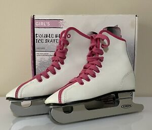 DBX Girl's Double Blade White Ice Skates 13J 1000 Series Kids Stability Training