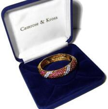 Camrose & Kross Jackie Kennedy Red Rhinestone Hinged Bangle Bracelet w Box