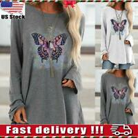 Womens Casual Autumn Long Sleeve Jumper Butterfly Loose Shirt Blouse Ladies Tops