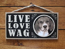 """Beagle Sign Live Love Wag Dog Wood Plaque 5""""x10""""  Made In USA"""