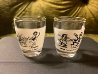 VTG Retro Set of 2 Shot Glasses Here's Mud In Your Eye! & Here's Looking At You!
