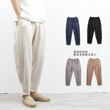 Men Linen Trousers Cotton Pants Harem Loose Slack Elastic Waist Pencil Plus Size