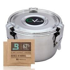 More details for cvault large humidity airtight tobacco storage tin box boveda size 4.75 x 3.33