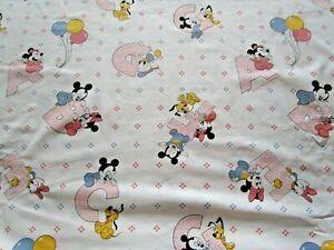 1984 VTG Rare 80s Disney Alphabet Mickey Minnie Mouse Crib Mattress Sheet